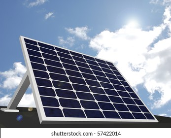 Image of a solar panel with a sky background.