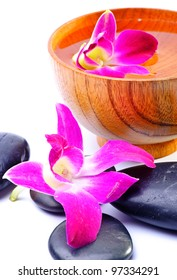 Image of spa therapy, flowers in water