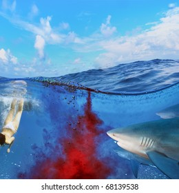 Image split two parts underwater and oceanview. Sharks attack swimmers underwater through cloud of blood