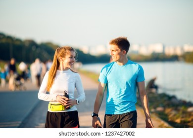 Image of sports women and men running in park