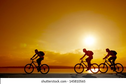 Image of sporty company friends on bicycles outdoors against sunset. Silhouette A lot phases of motion of a single cyclist along the shoreline coast  copy Space for inscription