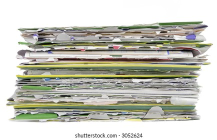 Image of a stack of careless opened envelopes with bills over white background