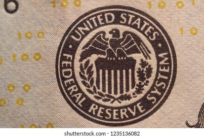 Image of a stamp of the US Federal Reserve on a one hundred dollar bill. Dollar. Money.  Dollar stamp.