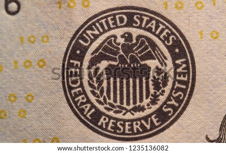 Image Of A Stamp The US Federal Reserve On One Hundred Dollar Bill Money