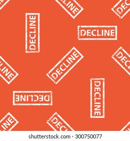 Image of stamp with word DECLINE, repeated on orange background