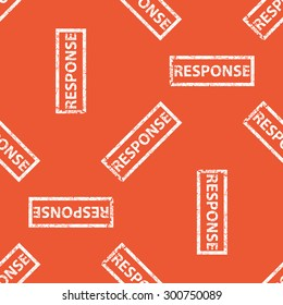 Image of stamp with word RESPONSE, repeated on orange background