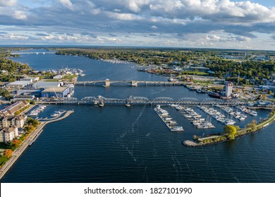 An image of steel bridge and boats located in historic Sturgeon Bay located in Door County Wisconsin