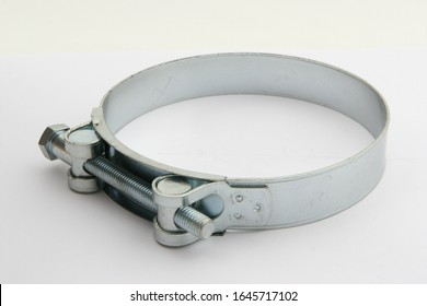 Image of steel clamps. Screw clamp. on white background