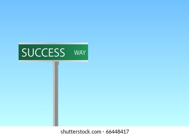 """Image of a street sign to """"Success Way"""" with a blue sky background."""