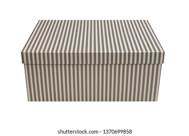 image of striped gift cardboard box isolated on white background