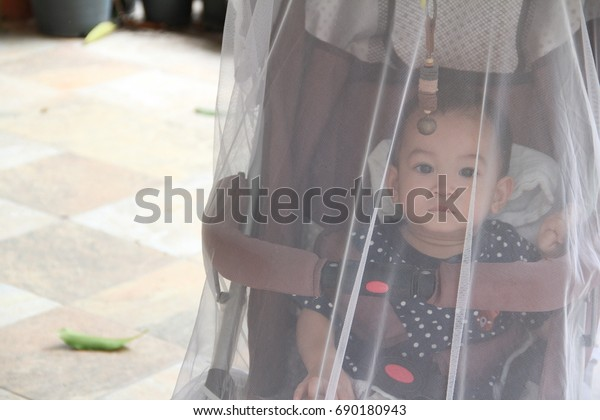 Image of  stroller that covered with net.Asian baby boy sitting in stroller,outside the house on daytime.Baby was protected from insect or mosquito by net.Mosquito were the carrier of Dengue fever.