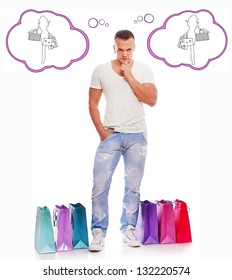 Image of stylish man with bags who is thinking about shopping