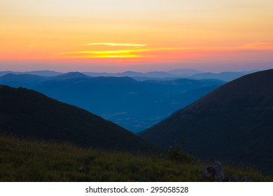 Image of summer sunset in the Sibillini mountains, Marche - Italy.