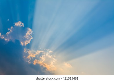 image of sun Crepuscular ray(beam) on the sky on day time for background usage.