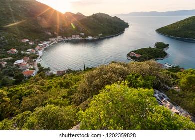 Image of sunset at beautiful island Mljet in Croatia.Europe