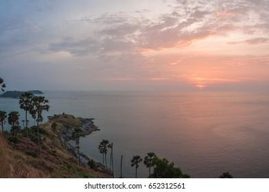 Image of sunset at Nay Harn on Phuket island in Thailand
