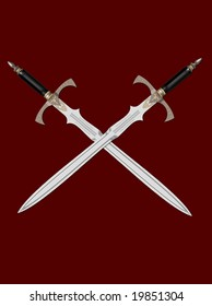 The image of the sword laying on a background, 3D rendering