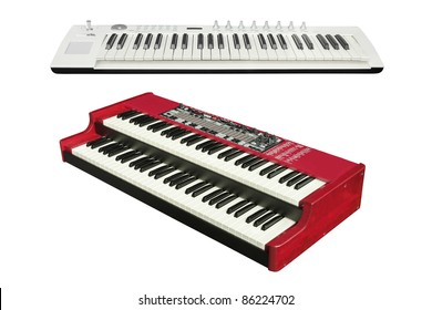 The image of synthesizers under the white background