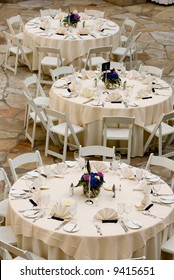 image of tables set for an event, party or wedding reception