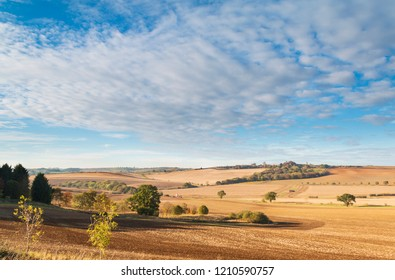 An image taken on an autumn day, of farmland after it had been prepared for planting, Rutland, England, UK