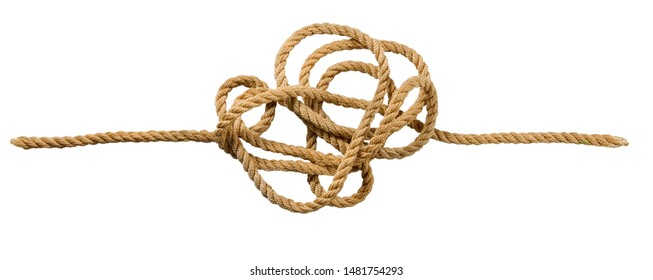 Image of a tangled cord on a white background. Problem solving concept