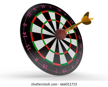 the image of the target for Darts and Apple in the center of the dart hit the target. The image on a white background. 3D rendering. The idea of success and good luck.