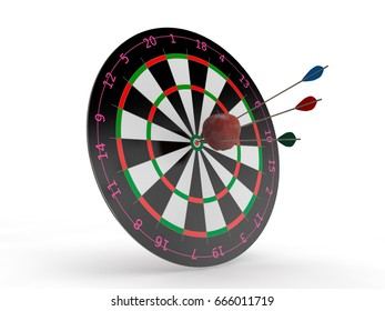 the image of the target for Darts and Apple in the center with the arrows hit the target. The image on a white background. 3D rendering. The idea of success and good luck.