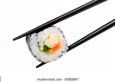 An image of a tasty piece of sushi in chopsticks