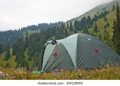 Image of the tent in the mountain of Swiss