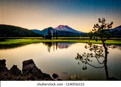 Image with texture overlay of Sparks Lake and Sisters Mountain in Central Oregon Bend Cascade Lakes