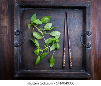 Image of Thai basil leaves