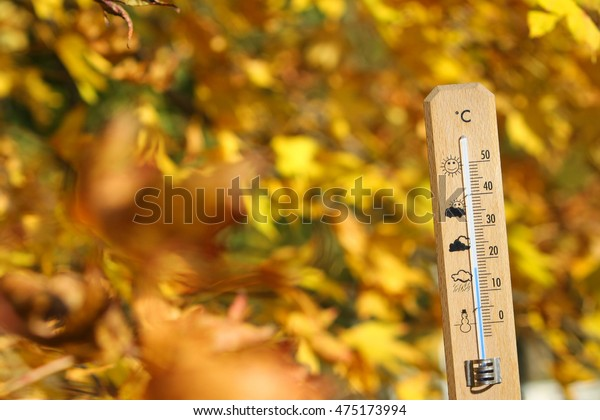 Image Thermometer Pretty Colors Fall Background Stock Photo