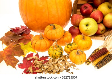 Image of things associated with, autumn, harvest and holidays for the time of year.