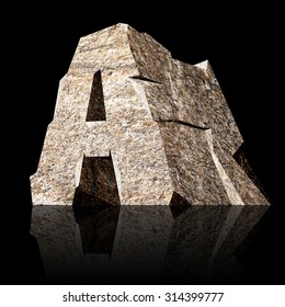 image of the three-dimensional stone letter A