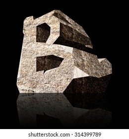 image of the three-dimensional stone letter B