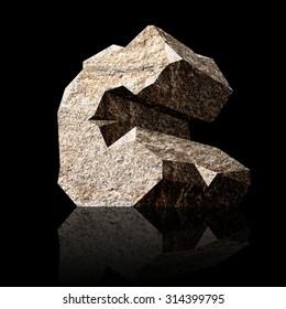 image of the three-dimensional stone letter C