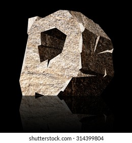 image of the three-dimensional stone letter D