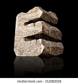 image of the three-dimensional stone letter E