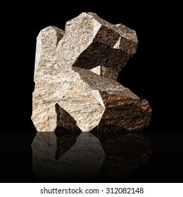 image of the three-dimensional stone letter K