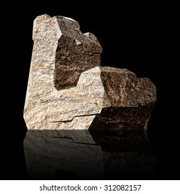 image of the three-dimensional stone letter L