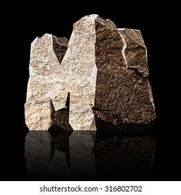 image of the three-dimensional stone letter M