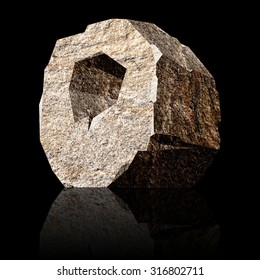 image of the three-dimensional stone letter O