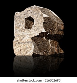 image of the three-dimensional stone letter P