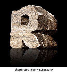 image of the three-dimensional stone letter R