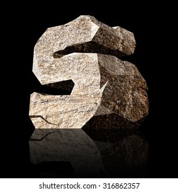 image of the three-dimensional stone letter S