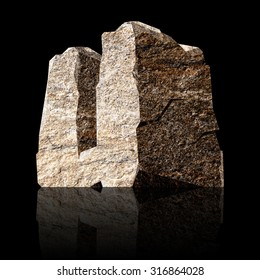 image of the three-dimensional stone letter U