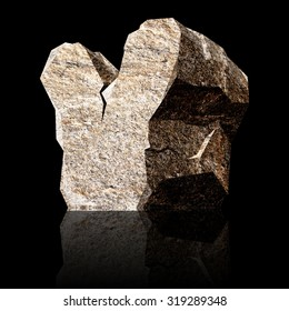 image of the three-dimensional stone letter Y