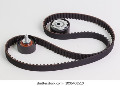 Image of timing belt with rollers on a white background