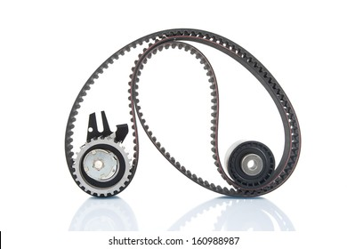 Image of timing belt with rollers selective focus