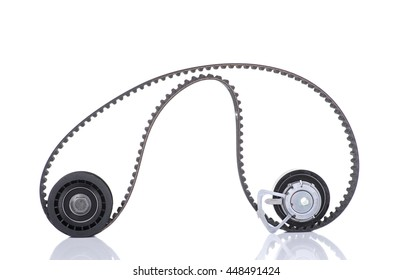 Image of Timing belt, two rollers isolated on white